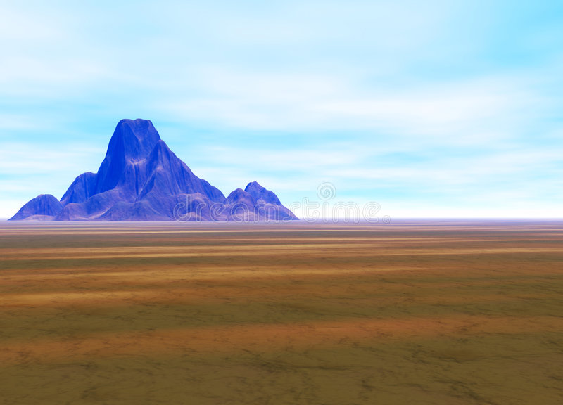 Distant Mountain on Horizon Landscape stock illustration