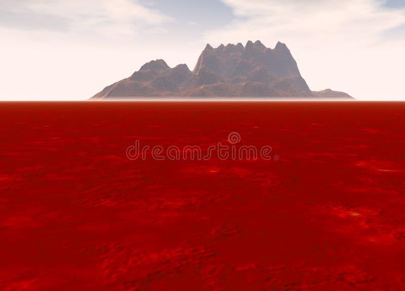 Distant Mountain on Horizon Landscape. Distant Red Rocky Mountain on Horizon Landscape royalty free illustration