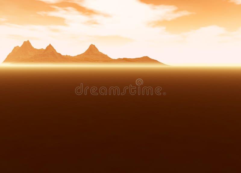 Distant Mountain on Horizon Landscape Desert. Scene Lots of Room For Text royalty free illustration