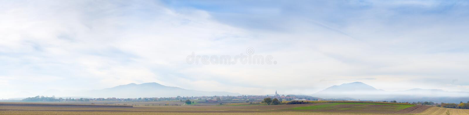 Distant mountains in brume. Landscape in Alsace, France royalty free stock photos