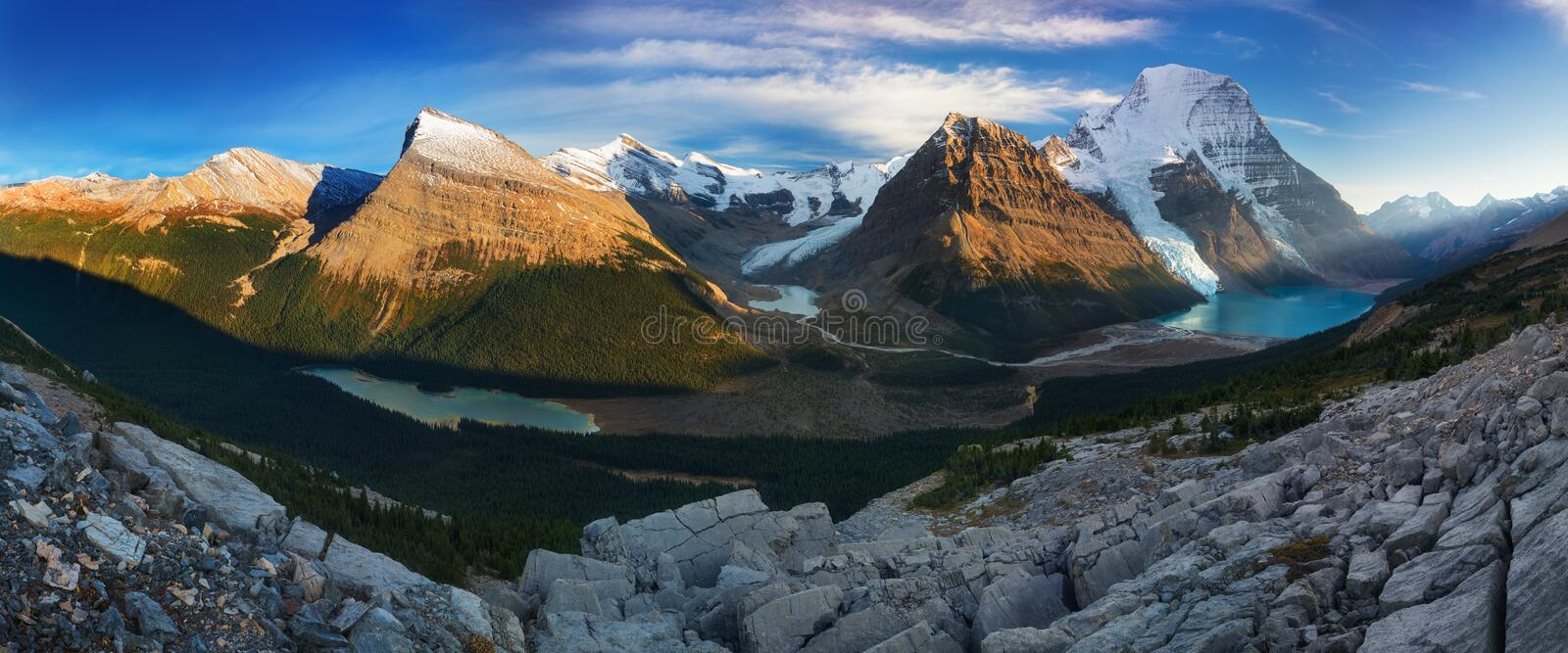 Distant Panoramic Landscape of Berg Lake and Snowy Mountain Robson Top in Jasper National Park Canadian Rocky Mountains. royalty free stock photography