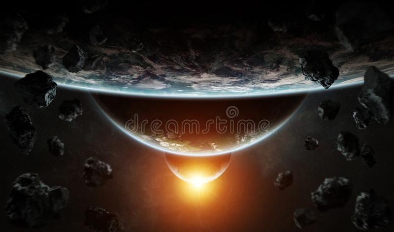 Distant planet system in space with exoplanets 3D rendering elem vector illustration