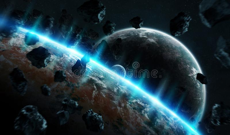 Distant planet system in space with exoplanets 3D rendering elements of this image furnished by NASA royalty free illustration