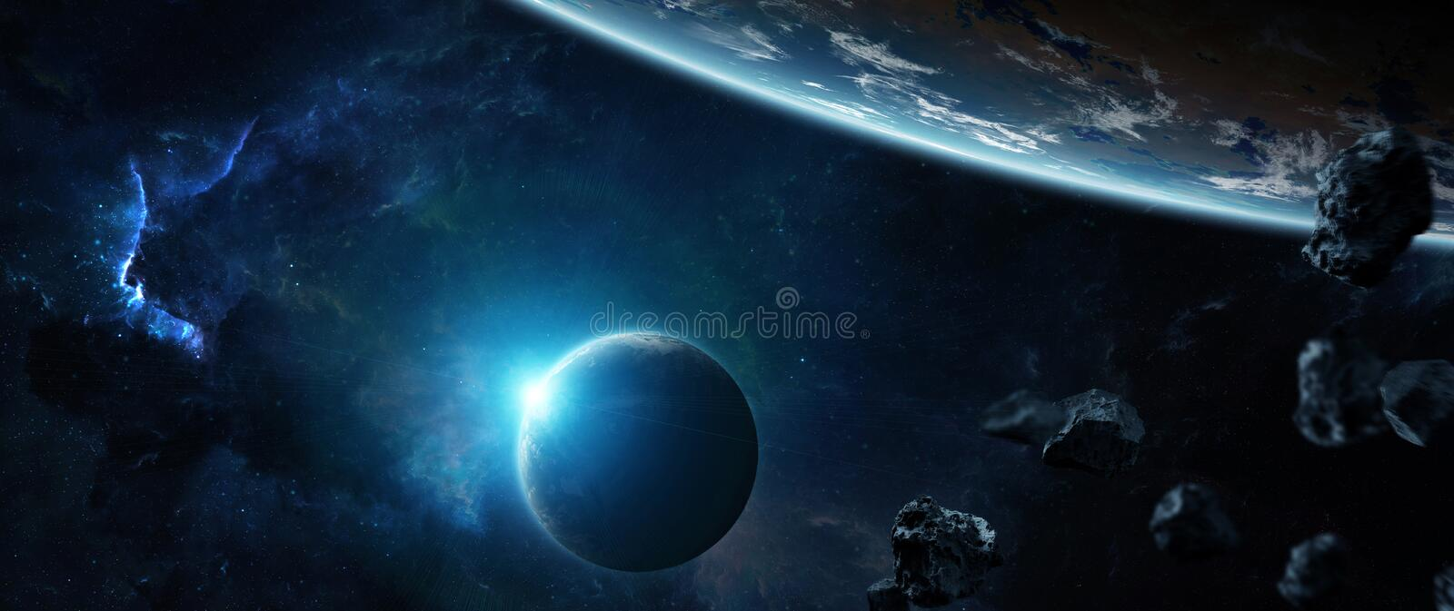 Distant planet system in space with exoplanets 3D rendering elements of this image furnished by NASA vector illustration