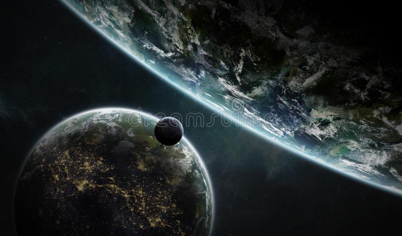 Distant planet system in space with exoplanets 3D rendering elem royalty free illustration