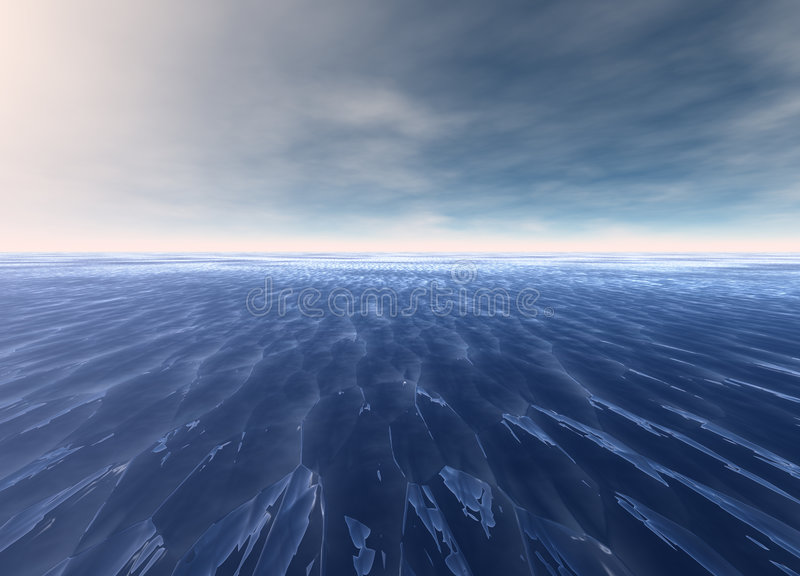 Distant Seascape Blue Water Ocean. Horizon Glowing royalty free illustration