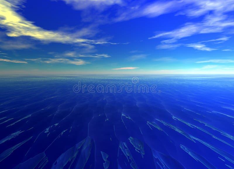 Distant Seascape Blue Water Ocean. Horizon Glowing stock illustration