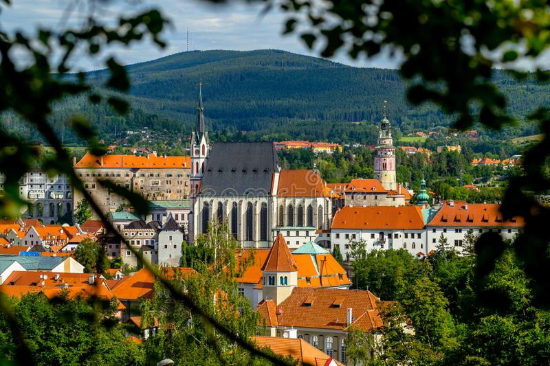 Distant View of the Church of St. Vitus and Castle in Cesky Krumlov. On a Summer Sunny Day stock photography