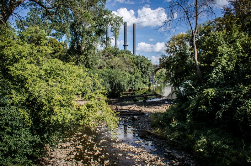 Distant view of the former Southeast Steam Plant now known as the Southeast Heating Plant. In downtown Minneapolis, near St. Anthony Main royalty free stock image