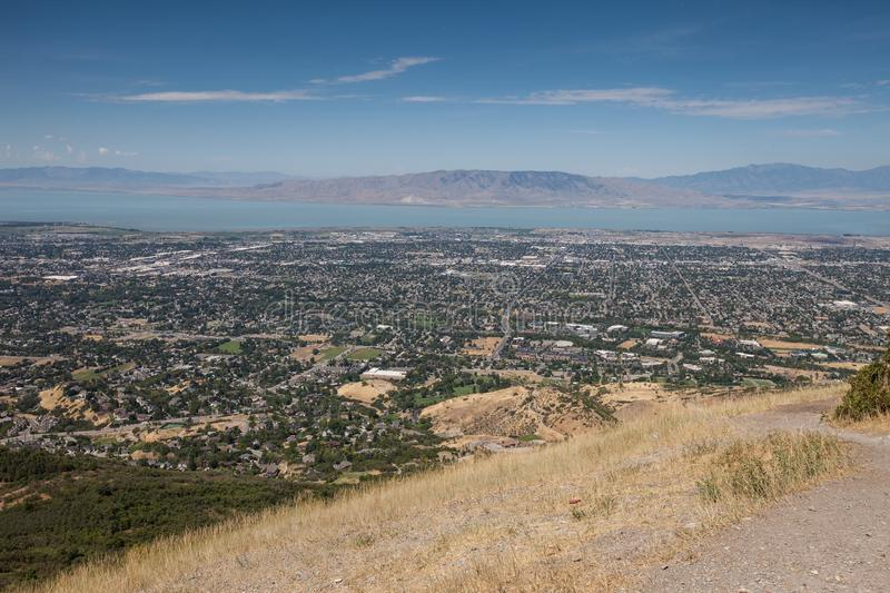 Distant view of Lake Utah and Provo town royalty free stock image