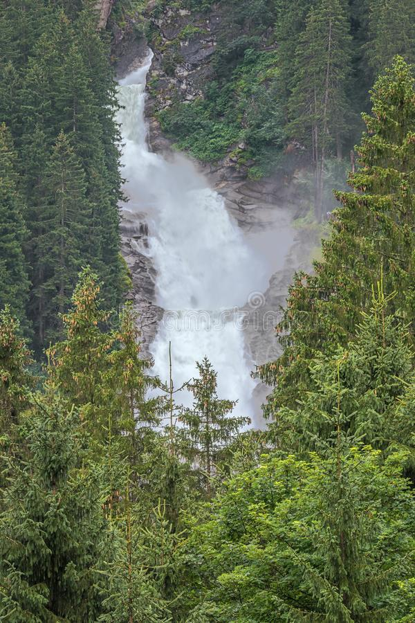 Distant view of the lower part of the Krimml Waterfalls royalty free stock image