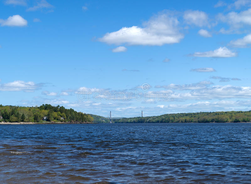 Distant view of the Penobscot Narrows Bridge royalty free stock images