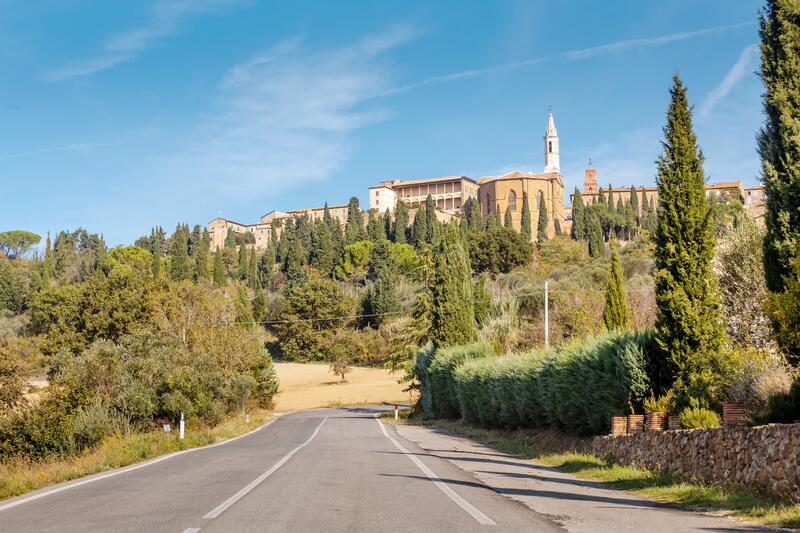 Distant view of Pienza old town on a Tuscany hill. Italy royalty free stock photos