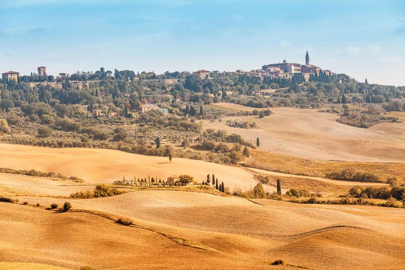 Distant view of Pienza old town on a Tuscany hill. Italy royalty free stock photography