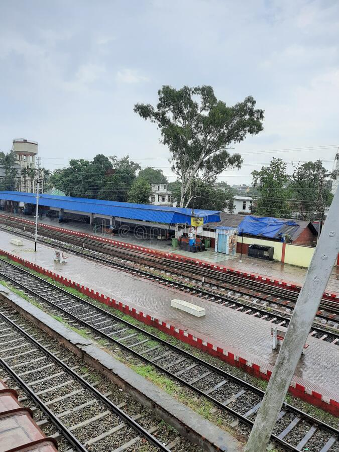 Distant View of Platform No. 1 of Railway station, Dimapur, Nagaland, India. View of Platform No. 1 and tracks  of Railway station, Dimapur, Nagaland, India stock photo
