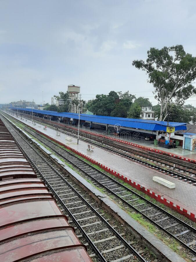 Distant View of Platform No. 1 of Railway station during Lockdown the , Dimapur, Nagaland, India. View of Platform No. 1 and tracks  of Railway station, Dimapur stock image