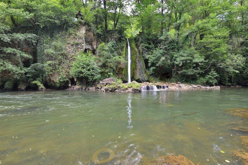 Distant view of the Vadu CriÈ™ului Waterfall. stock photos