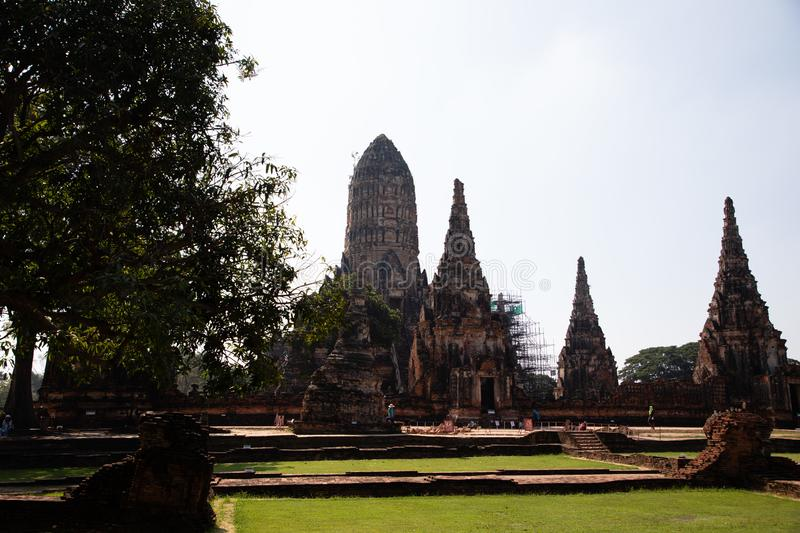 Distant views of the Ayutthaya ruin temple with sunlight and green grass. With copy space royalty free stock photos