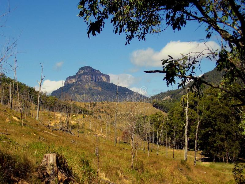 The tiered Mount Lindesay is an exstinct volcano. Distant views of the tiered Mount Lindesay is an extinct volcano located in South East Queensland Australia royalty free stock photos