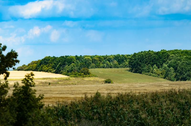 Distant views in the village of fields and forest belts. Kharkov stock photo