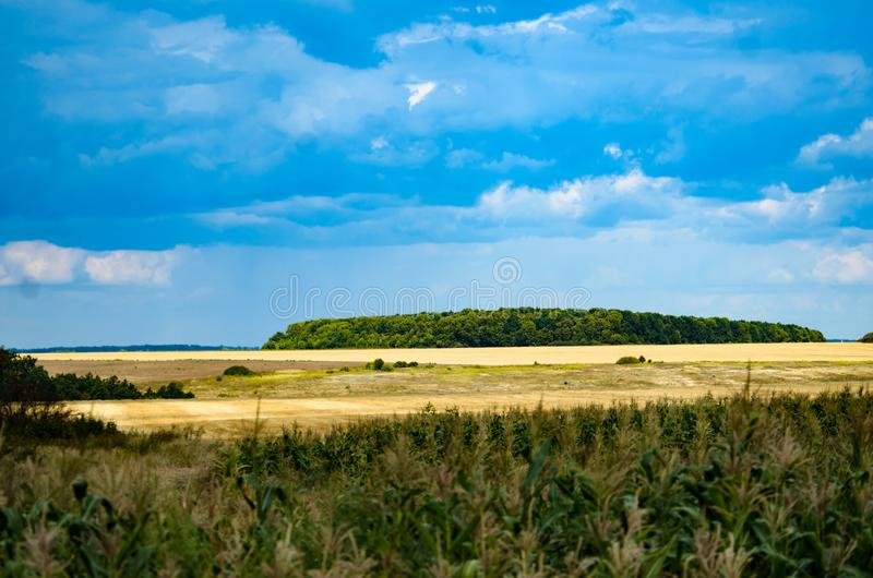 Distant views in the village of fields and forest belts. Kharkov stock images