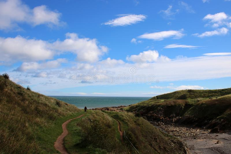 Distant walker on Berwickshire Coastal Path UK. View out to the North Sea along part of the Berwickshire Coastal path near Coldingham Bay in the Borders Region royalty free stock image