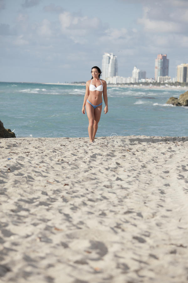 Download Distant woman on the beach stock photo. Image of waves - 14984140