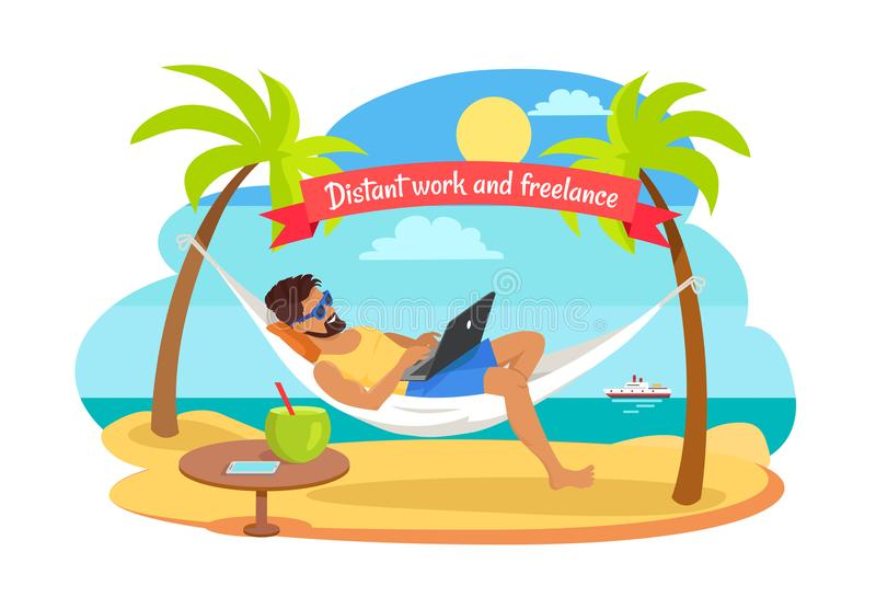 Distant Work and Freelance Vector Man on Hammock. Distant work and freelance vector with man lying on hammock with notebook, table with tropical cocktail vector illustration