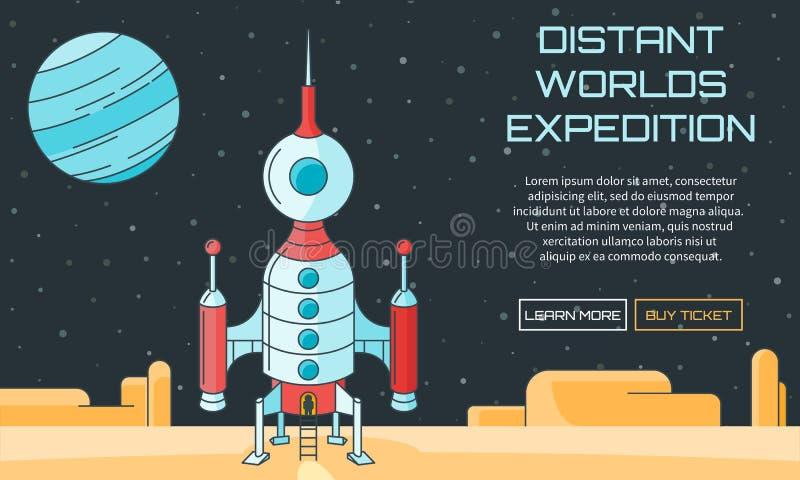 Distant worlds exploration background stock illustration