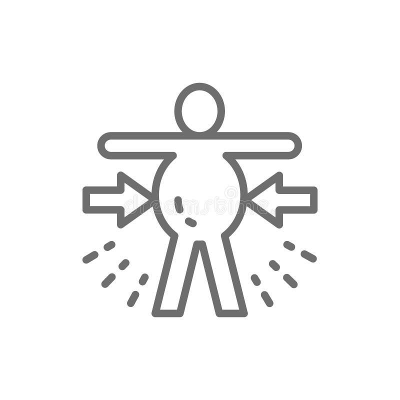 Distension abdominale, obésité, ligne icône de mal de ventre illustration de vecteur