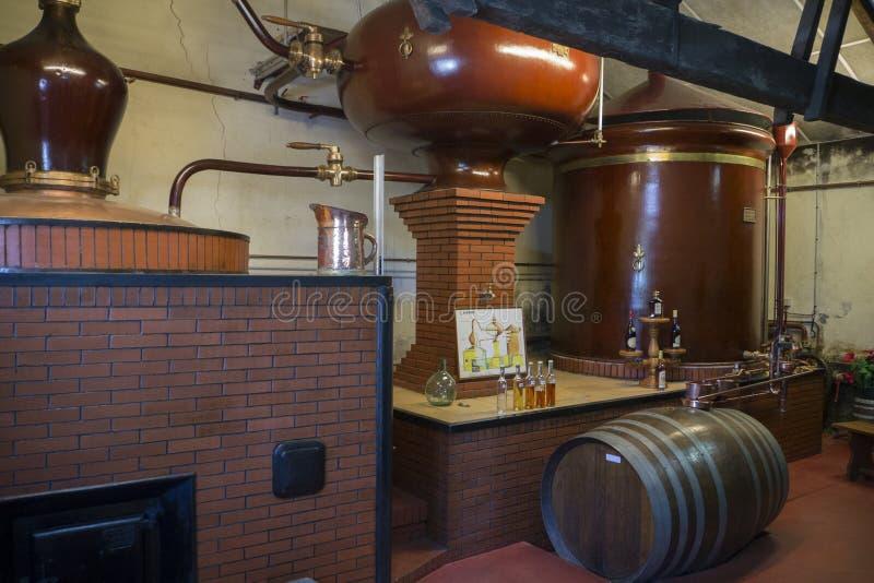 Distillerie de Pineau à le Maine Giraud Manor, Champagne-Vigny, Poit photo stock