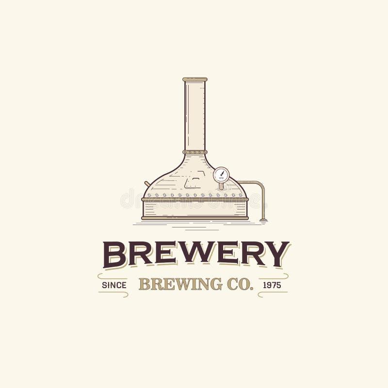 Distillerie Logo Template de bière illustration de vecteur