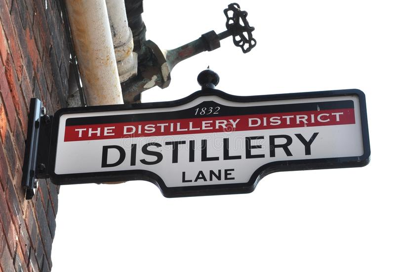 The Distillery District sign. Posted in the brick walls stock photo