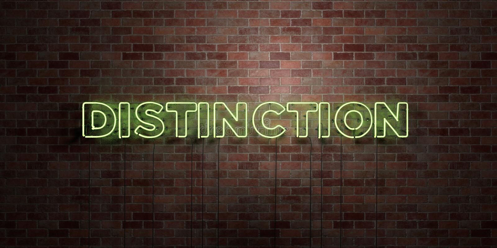 DISTINCTION - fluorescent Neon tube Sign on brickwork - Front view - 3D rendered royalty free stock picture. Can be used for online banner ads and direct royalty free illustration