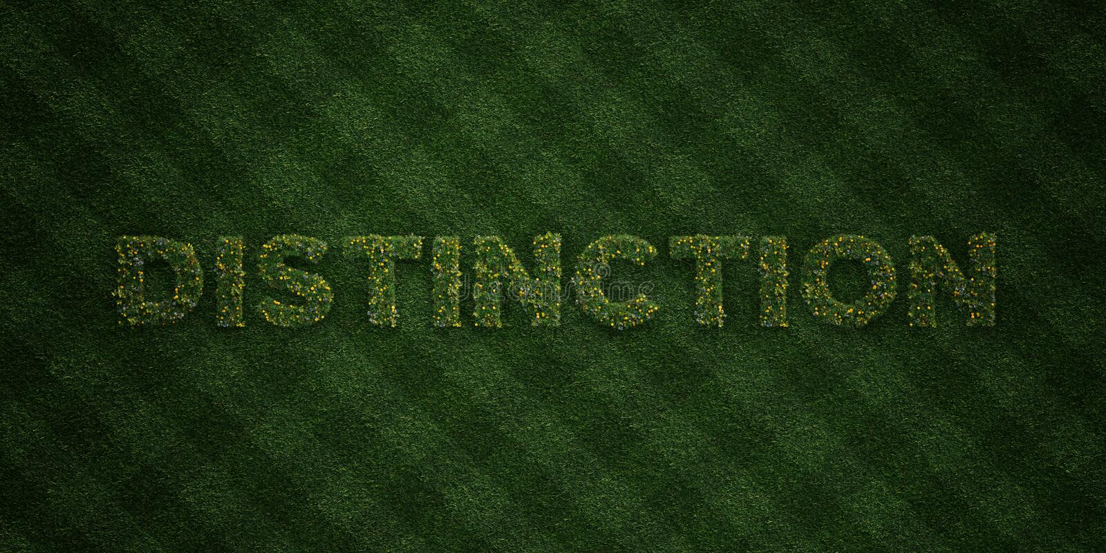 DISTINCTION - fresh Grass letters with flowers and dandelions - 3D rendered royalty free stock image. Can be used for online banner ads and direct mailers royalty free illustration