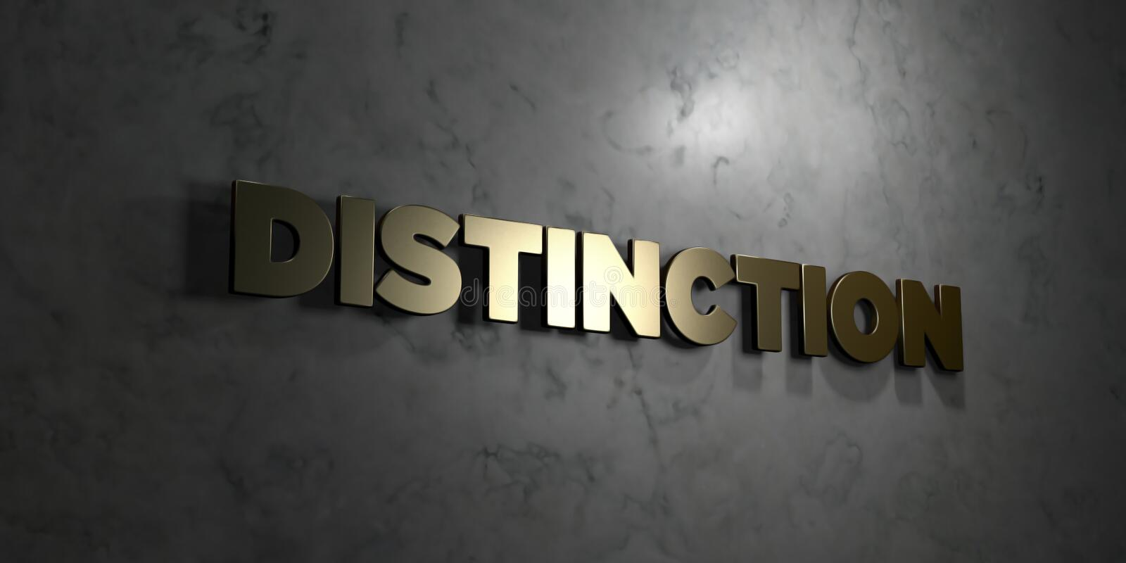 Distinction - Gold text on black background - 3D rendered royalty free stock picture. This image can be used for an online website banner ad or a print vector illustration