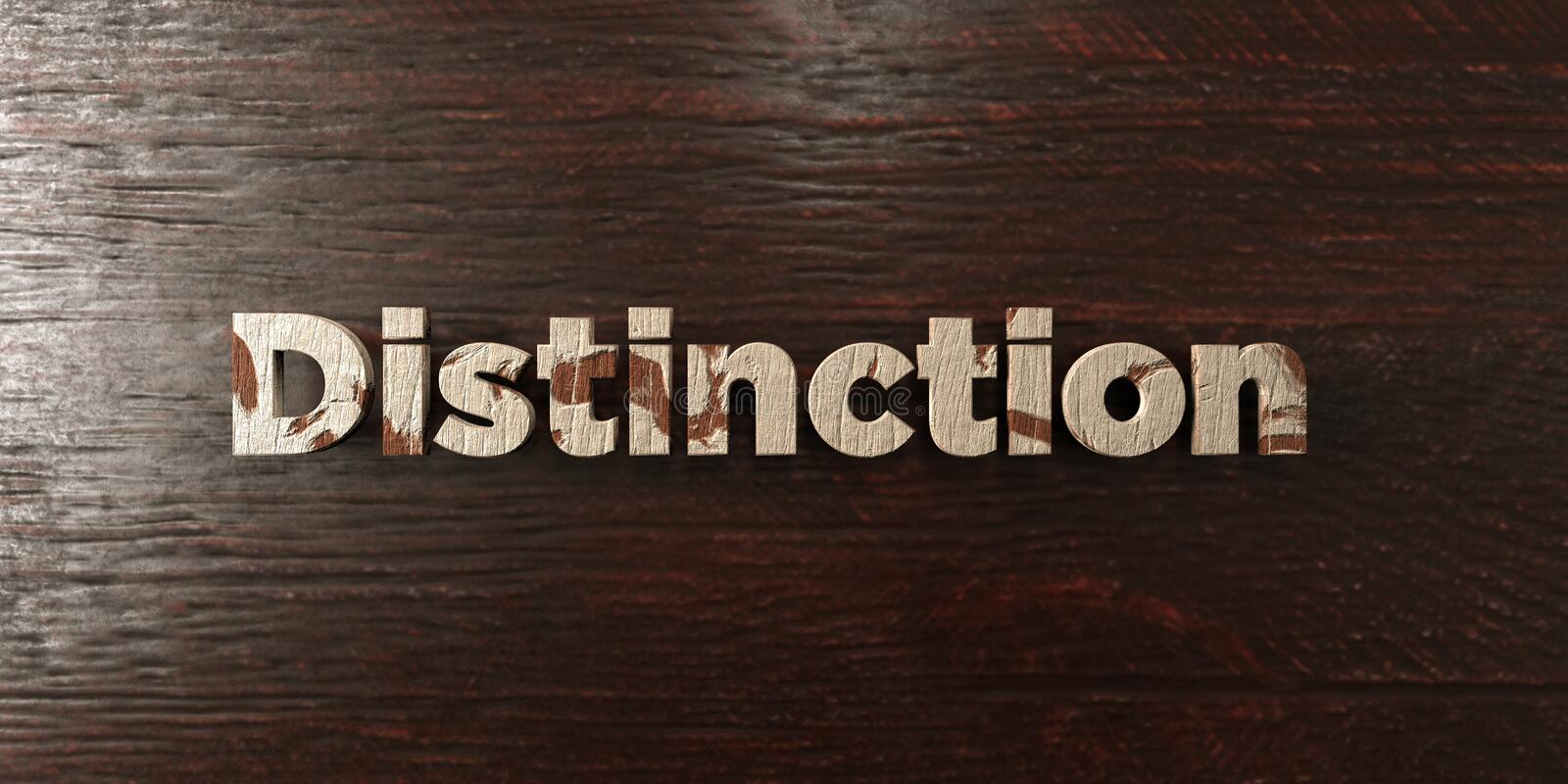 Distinction - grungy wooden headline on Maple - 3D rendered royalty free stock image. This image can be used for an online website banner ad or a print vector illustration