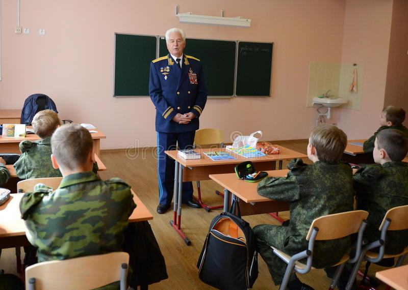 Distinguished Soviet military pilot, Colonel-General Nikolai Moskvitelev a lesson of Courage in the cadet corps. MOSCOW, RUSSIA - SEPTEMBER 1, 2014 stock photo