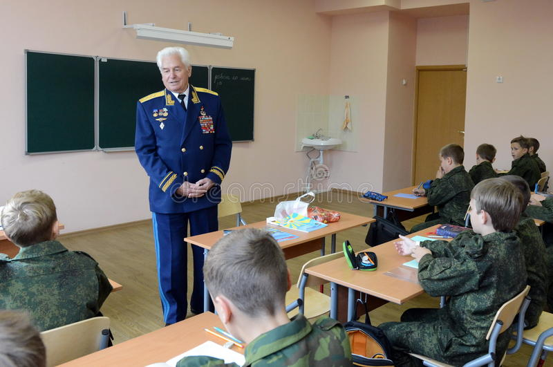 Distinguished Soviet military pilot, Colonel-General Nikolai Moskvitelev a lesson of Courage in the cadet corps. MOSCOW, RUSSIA - SEPTEMBER 1, 2014 royalty free stock photos
