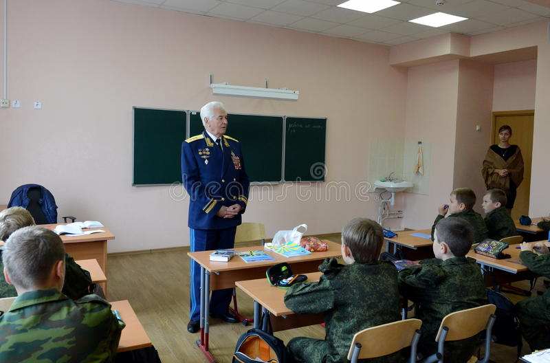Distinguished Soviet military pilot, Colonel-General Nikolai Moskvitelev a lesson of Courage in the cadet corps. MOSCOW, RUSSIA - SEPTEMBER 1, 2014 royalty free stock photography