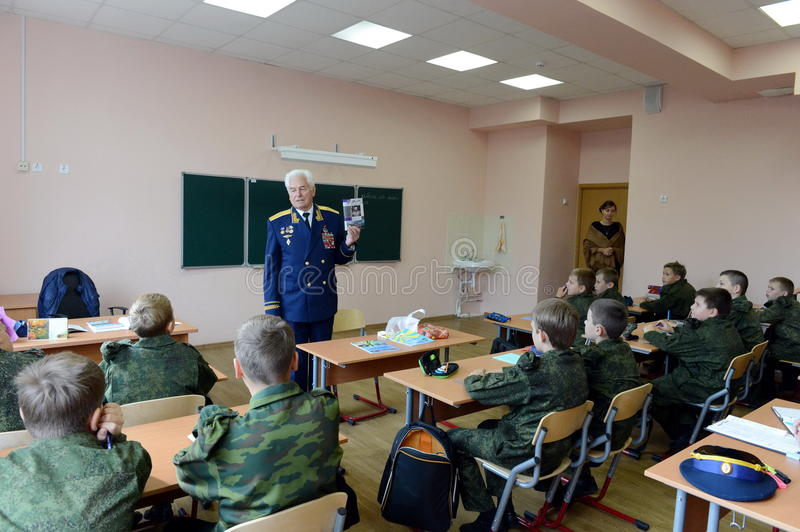 Distinguished Soviet military pilot, Colonel-General Nikolai Moskvitelev a lesson of Courage in the cadet corps. MOSCOW, RUSSIA - SEPTEMBER 1, 2014 stock image