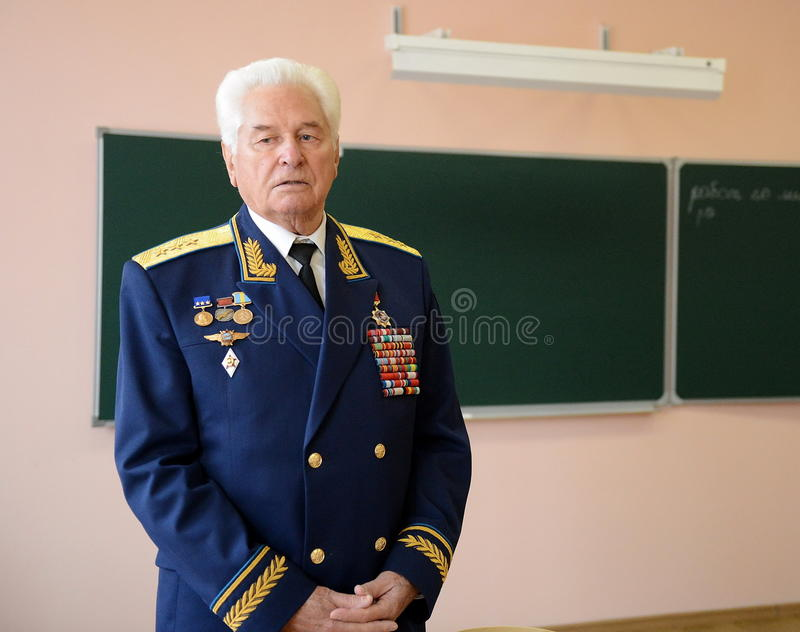 Distinguished Soviet military pilot, Colonel-General Nikolai Moskvitelev. MOSCOW, RUSSIA - SEPTEMBER 1, 2014:Distinguished Soviet military pilot, Colonel royalty free stock images