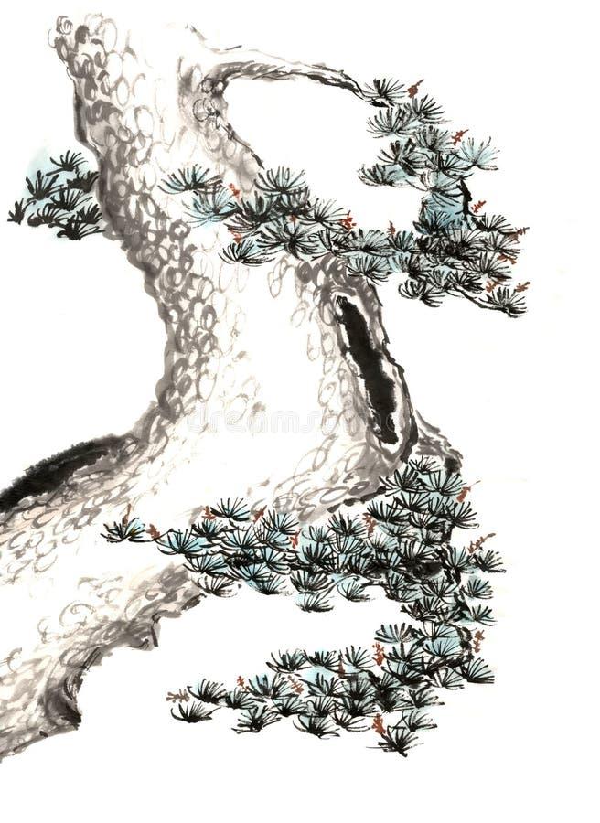 Distinta árvore pintado à mão decorativa lindo tradicional chinesa do tinta-pinho fotos de stock royalty free