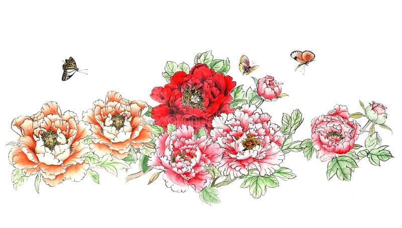 A distinta peônia pintado à mão decorativa lindo tradicional chinesa da tinta floresce ilustração royalty free