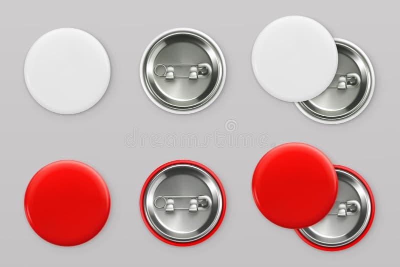 Distintivi bianchi e rossi in bianco Bottone di Pin vettore 3d illustrazione di stock