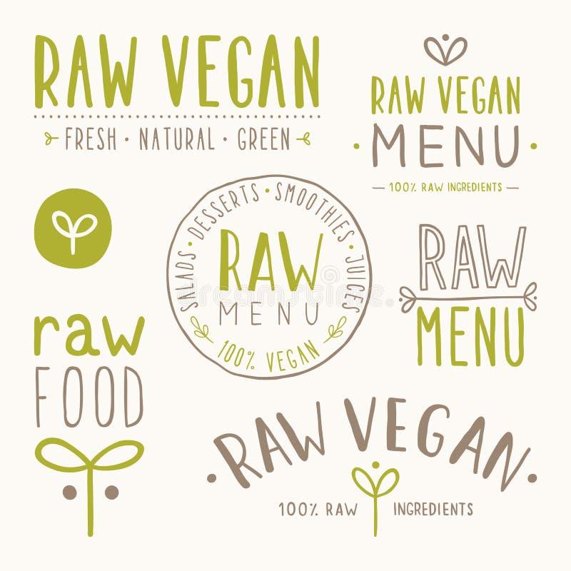 Distintivi crudi del vegano illustrazione di stock