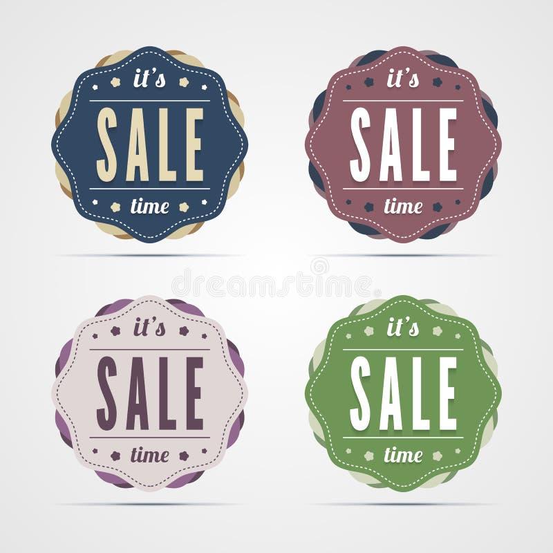 Distintivi d'annata di tempo di vendita. royalty illustrazione gratis