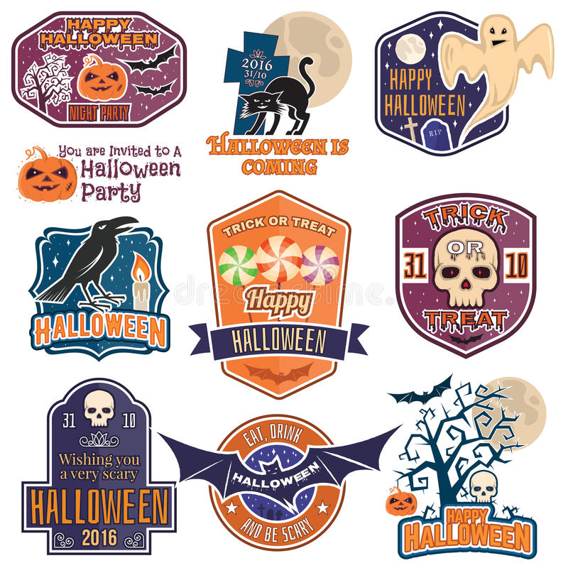 Distintivi d'annata, emblemi o etichette di Halloween royalty illustrazione gratis