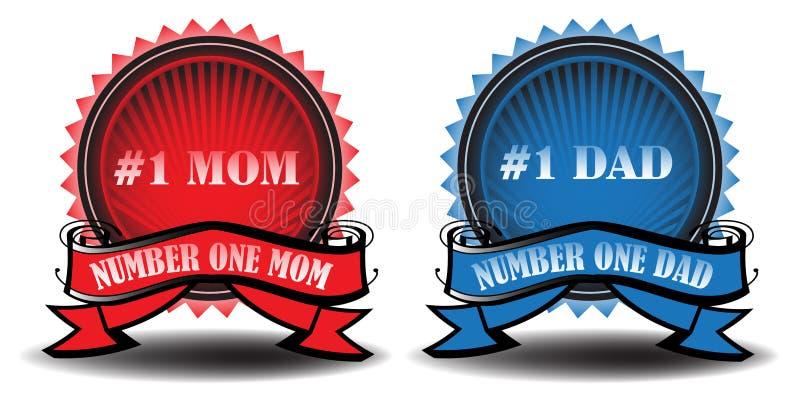 Distintivi del papà e della mamma illustrazione di stock