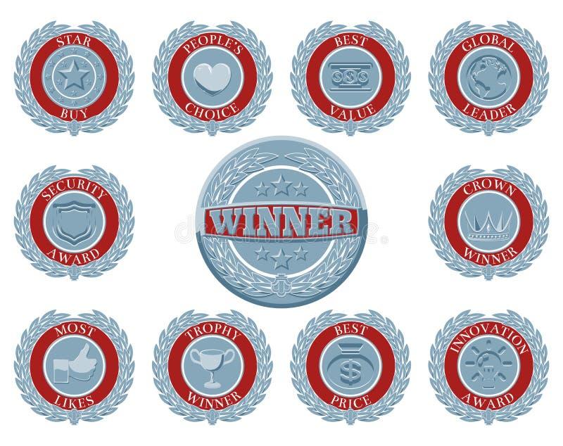 Distintivi del premio dei vincitori illustrazione di stock